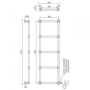 Vogue Ballerina BJ Traditional Heated Towel Rail 1575mm H x 525mm W Electric