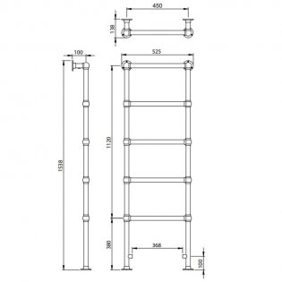 Vogue Ballerina BJ Traditional Heated Towel Rail 1538mm H x 525mm W Central Heating