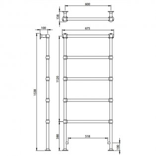 Vogue Ballerina BJ Traditional Heated Towel Rail 1538mm H x 675mm W Central Heating