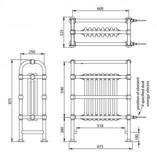 Vogue Baroque Designer Radiator Heated Towel Rail 875mm H x 675mm W Dual Fuel