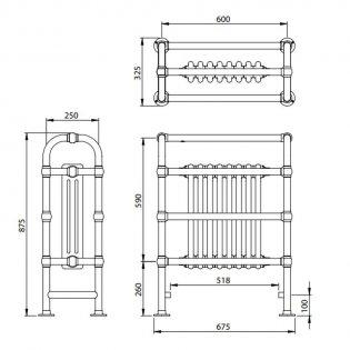 Vogue Baroque Designer Radiator Heated Towel Rail 875mm H x 675mm W Central Heating