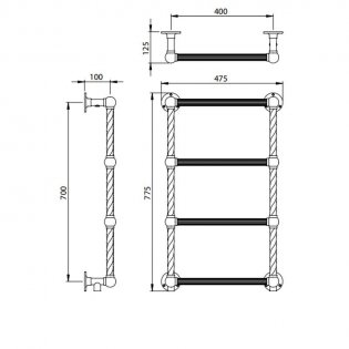 Vogue Colonnade 4 Traditional Heated Towel Rail 775mm H x 475mm W Central Heating