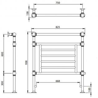 Vogue Elizabeth BJ Designer Heated Towel Rail 938mm H x 825mm W Central Heating