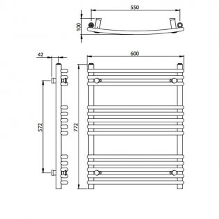 Vogue Melody Heated Towel Rail 772mm H x 600mm W Central Heating
