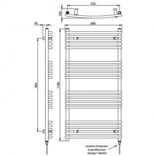 Vogue Melody Heated Towel Rail 1186mm H x 600mm W Electric