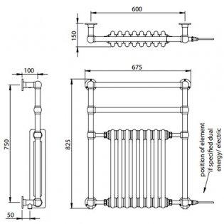 Vogue Regency Traditional Radiator Heated Towel Rail 825mm H x 500mm W Electric