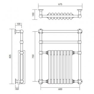 Vogue Regency Traditional Radiator Heated Towel Rail 825mm H x 675mm W Central Heating