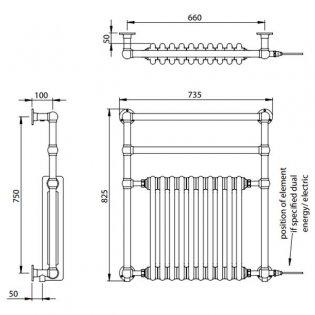 Vogue Regency Traditional Radiator Heated Towel Rail 825mm H x 735mm W Electric