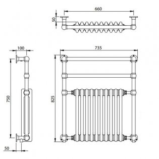 Vogue Regency Traditional Radiator Heated Towel Rail 825mm H x 735mm W Central Heating