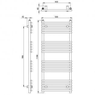 Vogue Tune Heated Towel Rail 1186mm H x 500mm W Central Heating