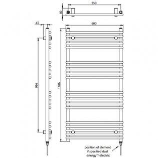Vogue Tune Heated Towel Rail 1186mm H x 600mm W Dual Fuel