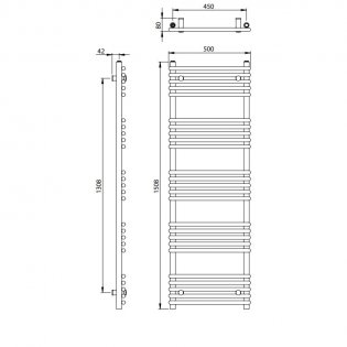 Vogue Tune Heated Towel Rail 1508mm H x 500mm W Central Heating