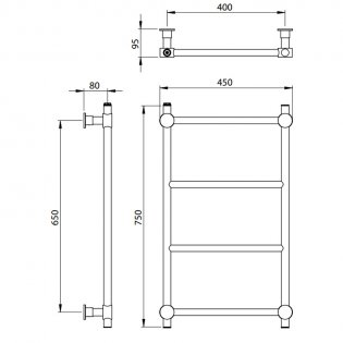 Vogue Venture Traditional Heated Towel Rail 750mm H x 450mm W Central Heating