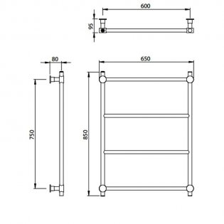 Vogue Venture Traditional Heated Towel Rail 850mm H x 650mm W Central Heating