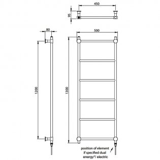 Vogue Venture Traditional Heated Towel Rail 1300mm H x 500mm W Dual Fuel