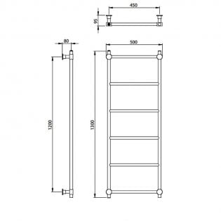 Vogue Venture Traditional Heated Towel Rail 1300mm H x 500mm W Central Heating