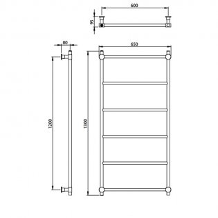 Vogue Venture Traditional Heated Towel Rail 1300mm H x 650mm W Central Heating