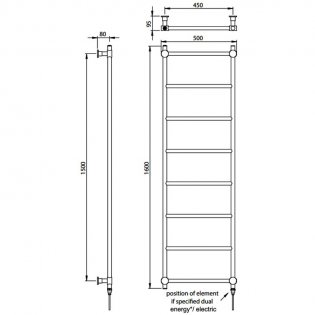 Vogue Venture Traditional Heated Towel Rail 1600mm H x 500mm W Electric