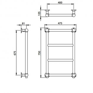 Vogue Vintage Traditional Heated Towel Rail 750mm H x 475mm W Central Heating