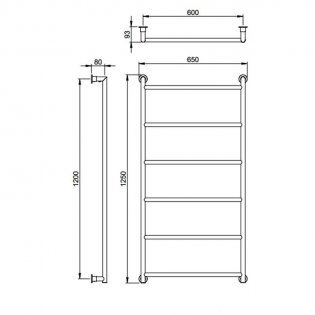 Vogue Vivid Traditional Heated Towel Rail 1250mm H x 650mm W Central Heating