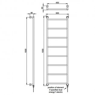 Vogue Vivid Traditional Heated Towel Rail 1550mm H x 500mm W Electric