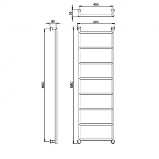 Vogue Vivid Traditional Heated Towel Rail 1550mm H x 500mm W Central Heating