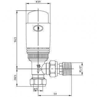 West Elegance TRV Thermostatic Radiator Valves Pair and Lockshield, Straight, Chrome