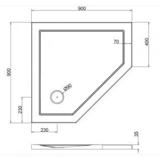 Zamori 35 Low Profile Pentangle Shower Tray 900mm x 900mm - Anti-Slip