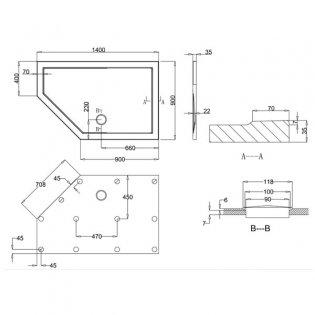 Zamori 35 Low Profile Pentangle Shower Tray 1400mm x 900mm - Left Hand