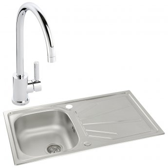 Abode Trydent 1.0 Bowl Inset Kitchen Sink with Atlas Sink Tap 860mm L x 500mm W - Stainless Steel