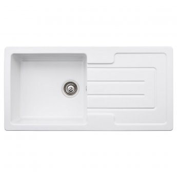 Abode Acton 1.0 Bowl Ceramic Kitchen Sink With Reversible Drainer 1000mm L x 500mm W - White