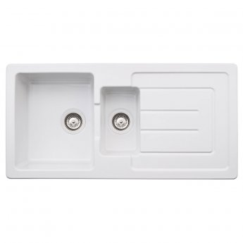 Abode Acton 1.5 Bowl Ceramic Kitchen Sink With Reversible Drainer 1000mm L x 500mm W - White