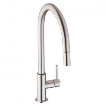 Abode Althia Side Lever Pull Out Kitchen Sink Mixer Tap - Brushed Nickel