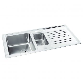 Abode Apex 1.5 Bowl Inset Kitchen Sink 1000mm L x 500mm W - Stainless Steel