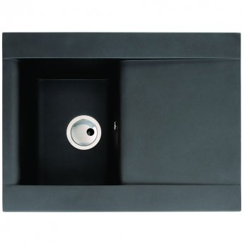 Abode Aspekt 1.0 Bowl Granite Inset Kitchen Sink 716mm L x 540mm W - Black Metallic