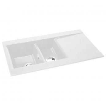 Abode Aspekt 1.5 Bowl Granite Inset Kitchen Sink 950mm L x 540mm W - White