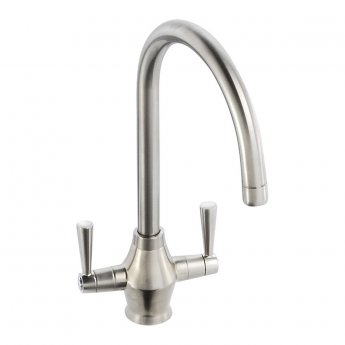 Abode Astral Monobloc Dual Lever Kitchen Sink Mixer Tap - Brushed Nickel