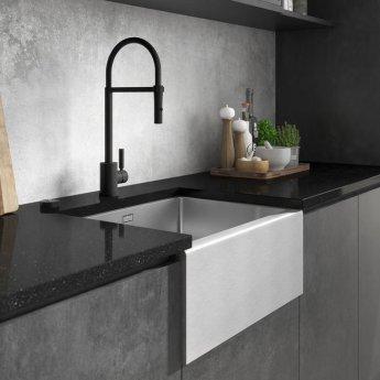 Abode Belfast 1.0 Bowl Undermount Kitchen Sink With Waste Kit 600mm L x 465mm W - Stainless Steel