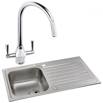 Abode Connekt 1.0 Bowl Inset Kitchen Sink with Astral Sink Tap 860mm L x 500mm W - Stainless Steel