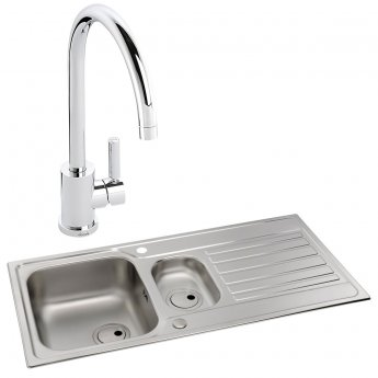 Abode Connekt 1.5 Bowl Inset Kitchen Sink with Atlas Sink Tap 1000mm L x 500mm W - Stainless Steel