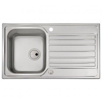 Abode Connekt 1.0 Bowl Inset Kitchen Sink 860mm L x 500mm W - Stainless Steel