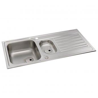 Abode Connekt 1.5 Bowl Inset Kitchen Sink 1000mm L x 500mm W - Stainless Steel