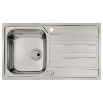 Abode Connekt Flushfit 1.0 Bowl Inset Kitchen Sink 860mm L x 500mm W - Stainless Steel