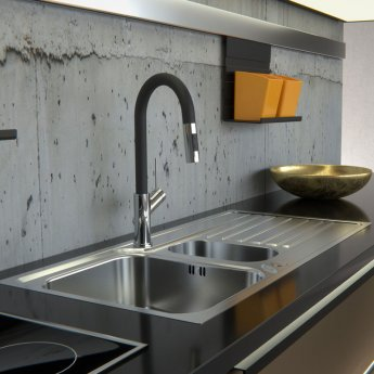 Abode Connekt Flushfit 1.5 Bowl Inset Kitchen Sink 1000mm L x 500mm W - Stainless Steel