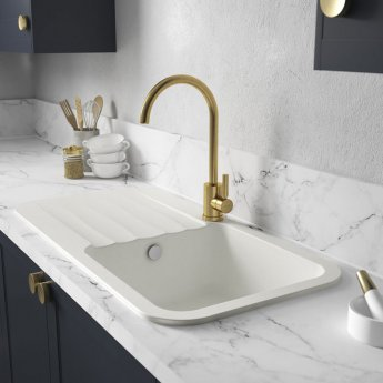Abode Dune 1.0 Bowl Granite Kitchen Sink with Reversible Drainer 1000mm L x 500mm W - Frost White