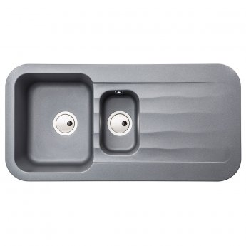 Abode Dune 1.5 Bowl Granite Kitchen Sink with Reversible Drainer 1000mm L x 500mm W - Grey Metallic