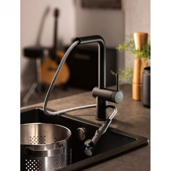 Abode Fraction Pull Out Kitchen Sink Mixer Tap - Matt Black