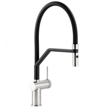 Abode Fraction Semi Professional Pull Out Kitchen Sink Mixer Tap with Spray - Brushed Nickel