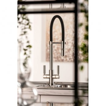 Abode Globe Professional Pull Out Kitchen Sink Mixer Tap - Brushed Nickel