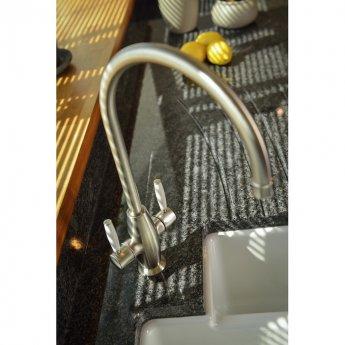 Abode Harrington Monobloc Dual Lever Kitchen Mixer Tap - Brushed Nickel